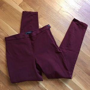 Banana Republic maroon stretch skinny ankle pants